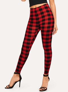 Two Tone Plaid Leggings