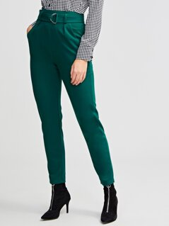 Ring Belted Slant Pocket Solid Skinny Pants