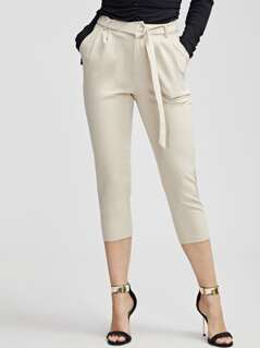 Slant Pocket Belted Solid Capris Pants