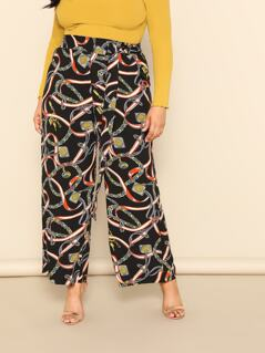Plus Chain Print Wide Leg Pants With Belt