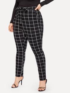Plus Slant Pocket Belted Grid Skinny Pants
