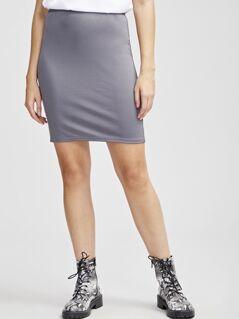 Zip Back Slit Hem Solid Skirt