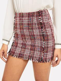 Frayed Edge Plaid Tweed Skirt