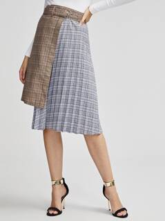 High Low Pleated Plaid Combo Skirt With Belt
