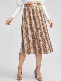 Snakeskin & Flower Print Skirt