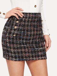 Double Breast Tweed Skirt