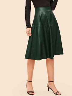70s Zip Detail Flare PU Skirt