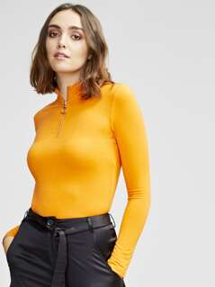 Zip Half Placket Fitted Neon Top