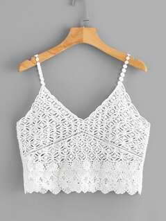 Sheer Crochet Crop Bralette Cami Top