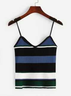 Color-block Rib-knit Slim Fitted Cami Top