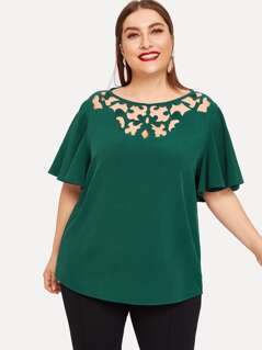 Plus Butterfly Sleeve Cutout Front Solid Top