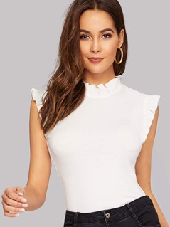Frilled Trim Keyhole Back Fitted Tee