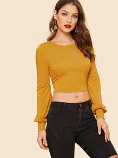 Cut Out Knot Back Lantern Sleeve Crop Tee