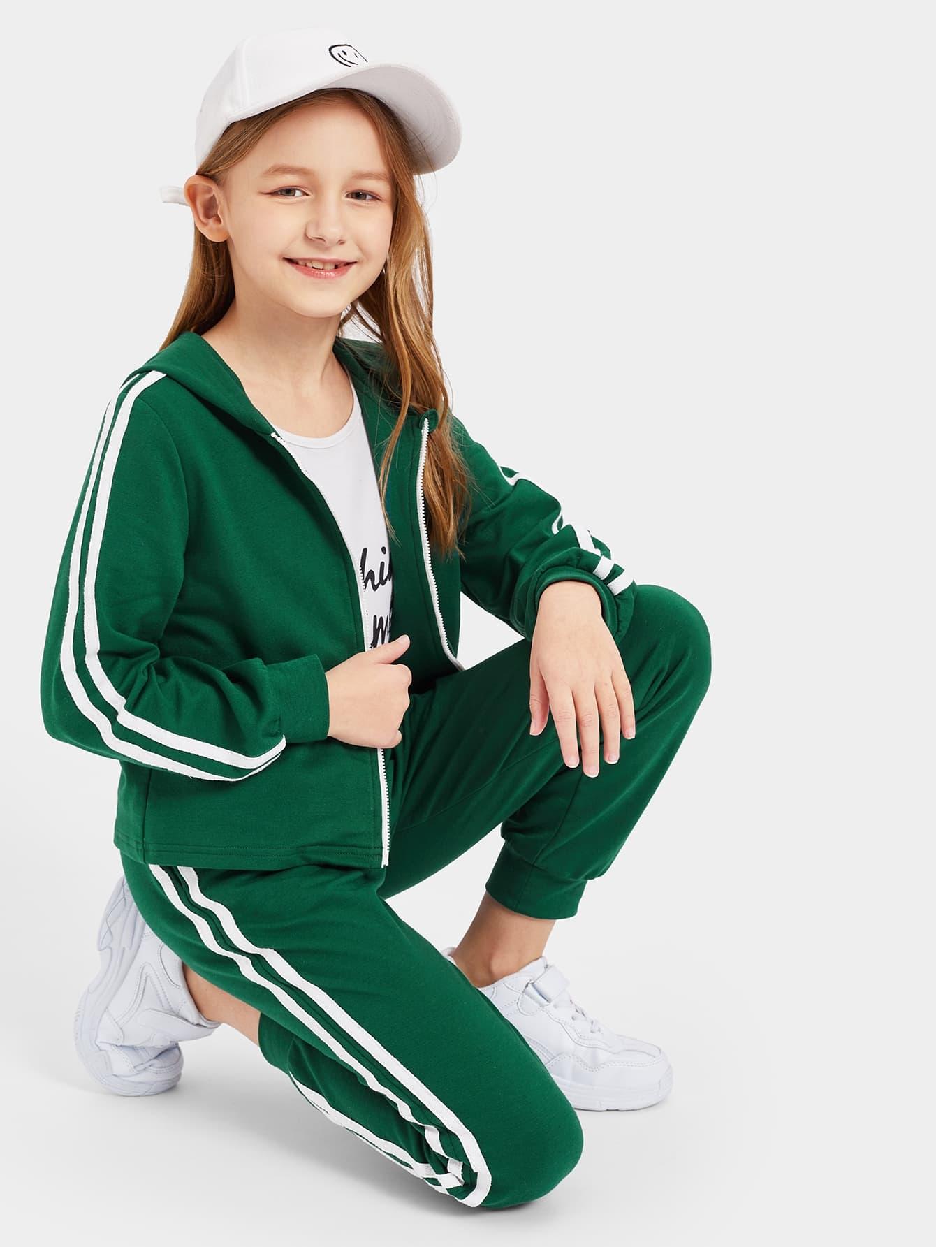 Свитшот в полоску с молнией и спортивные брюки для девочек от SheIn