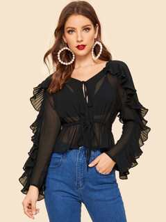 80s Ruffle Trim Sheer Peplum Top Without Bra