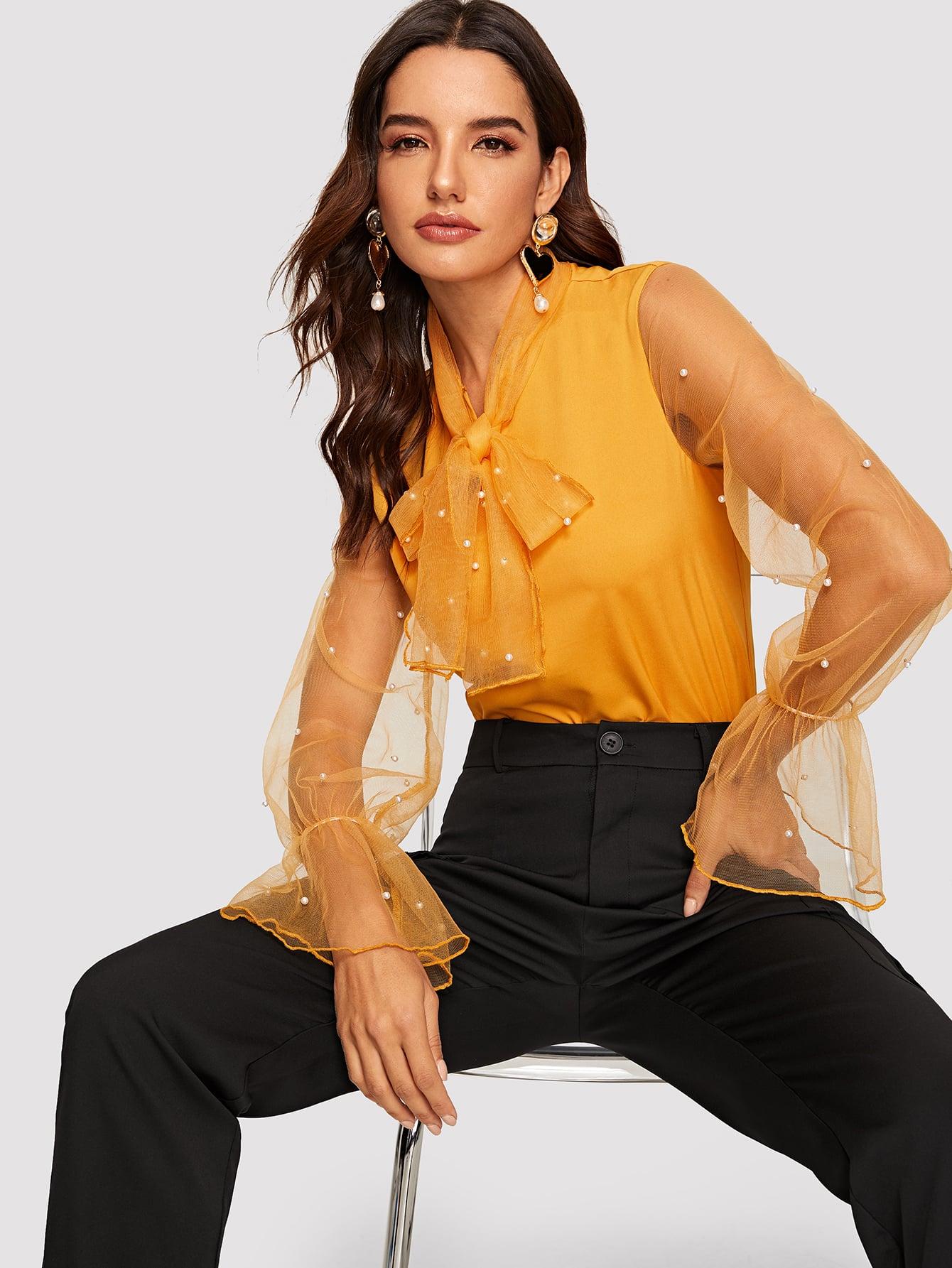 Купить Блуза с завязкой на шее бисерами и оригинальным рукавом, Juliana, SheIn