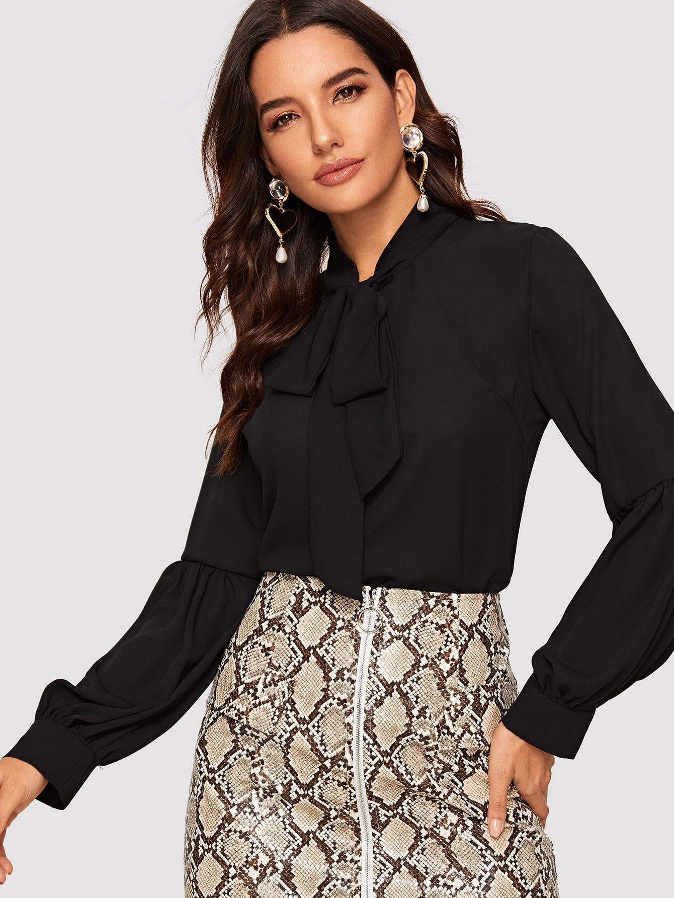 Купить Блуза с завязкой на шее и оригинальным рукавом, Juliana, SheIn