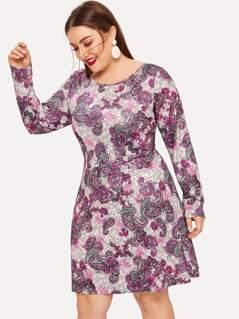 Plus Paisley Print Dress
