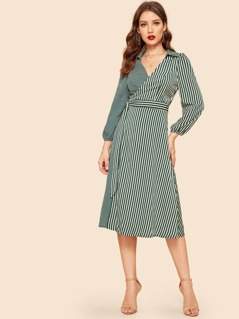 Stripe & Polka Dot Print Belted Wrap Dress