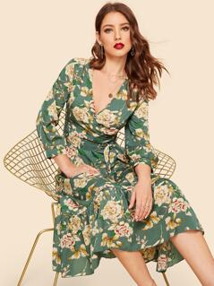Ruffle Hem Bishop Sleeve Floral Wrap Dress