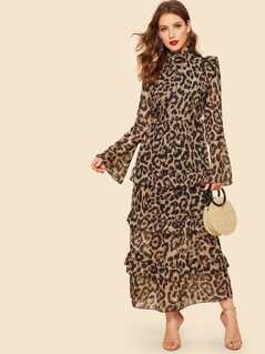 Half Placket Bell Sleeve Tiered Leopard Dress