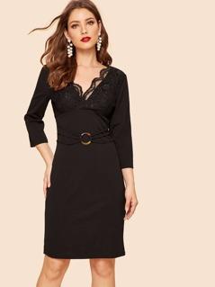 Lace Bodice O-ring Strappy Waist Dress