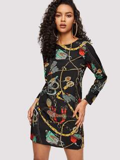 Chain Print Tunic Dress