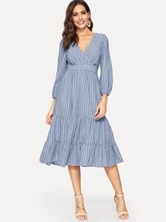 Tiered Ruffle Surplice Wrap Striped Dress