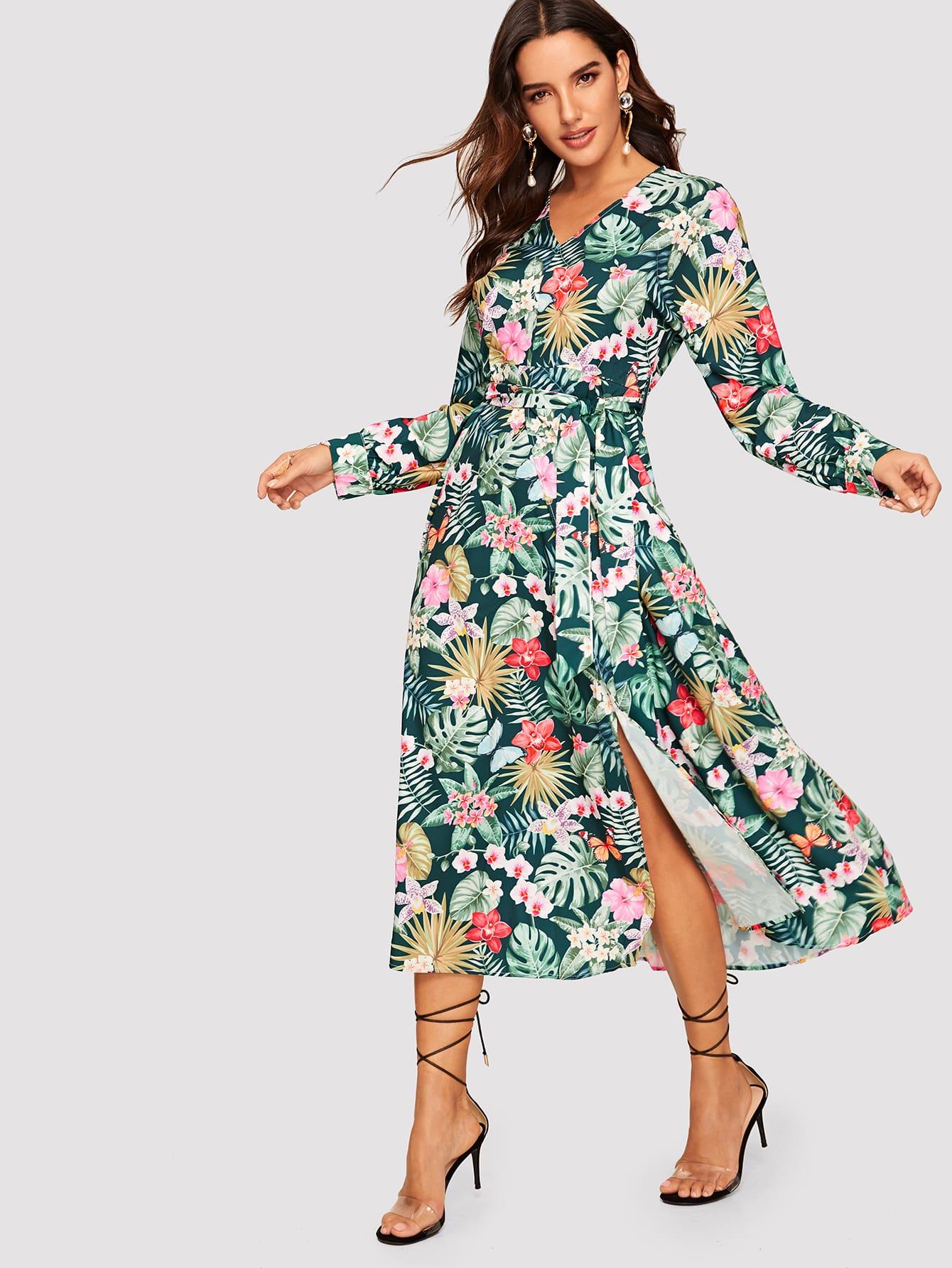 Купить Платье с поясом и разрезом и графическим принтом и V-образным вырезом, Juliana, SheIn