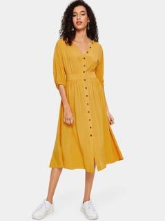 V-neck Button Up Dress