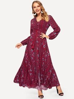 Shirred Drawstring Waist Button Through Floral Dress