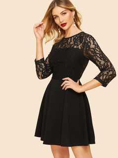 50s Lace Shoulder Skater Dress