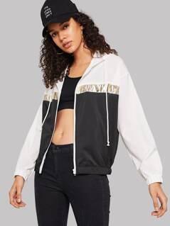 Color-block Drawstring Hooded Jacket