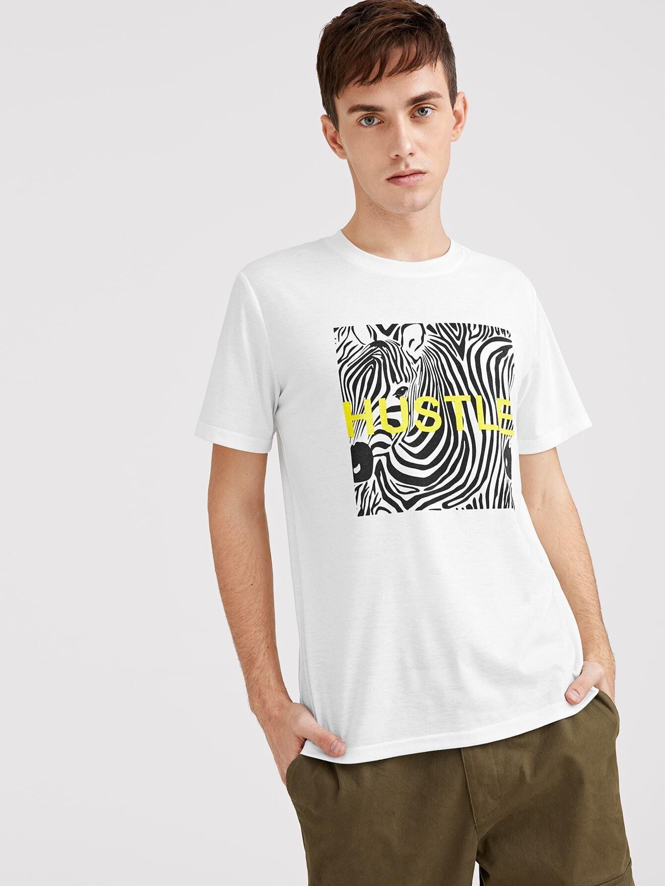Купить Мужская футболка с зебра-полосатым и текстовым принтом, Valerian, SheIn