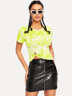 O-ring Front Tiger Print Neon Lime Top