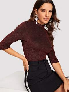 Mock Neck Glitter Fitted Top