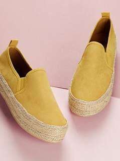 Slip On Jute Trimmed Platform Espadrille Loafers