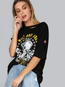 Skull Print Distressed Boyfriend T-Shirt