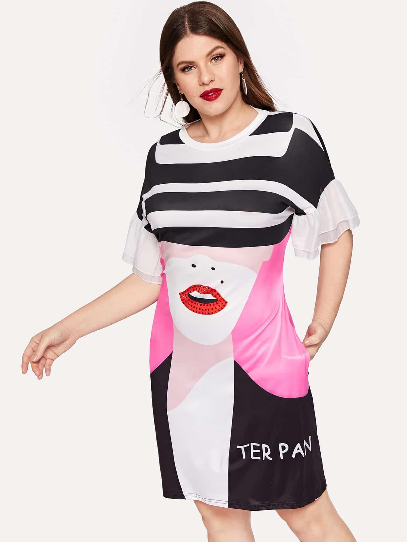 Купить Размера плюс платье с полосками и принтом губы, Isabela, SheIn