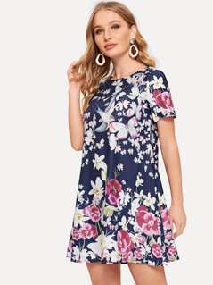 Flower Print Trapeze Dress
