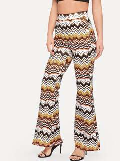 High Waist Chevron Print Flare Leg Pants