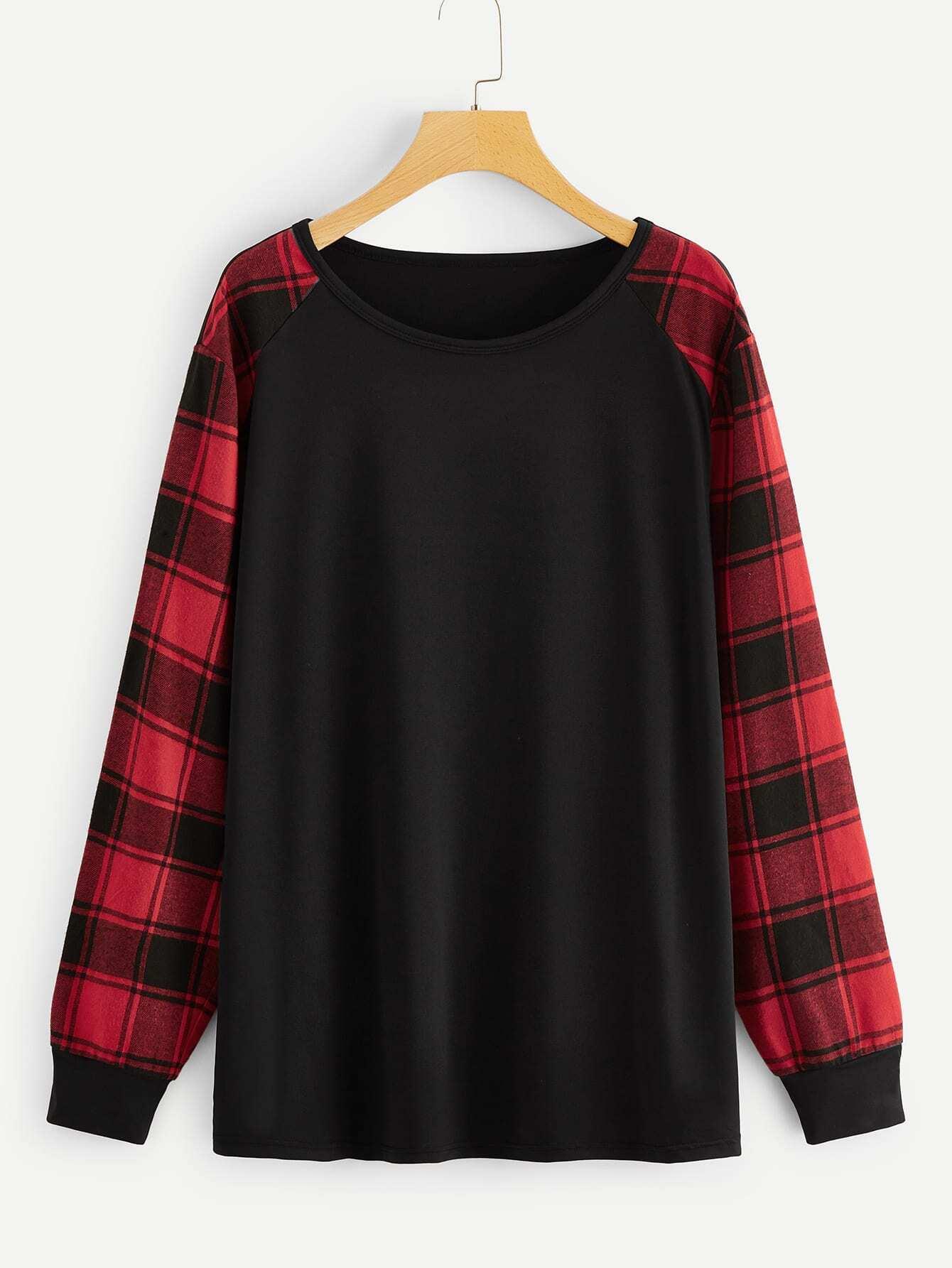 Купить Размер плюс футболка с клетчатым рукавом, null, SheIn