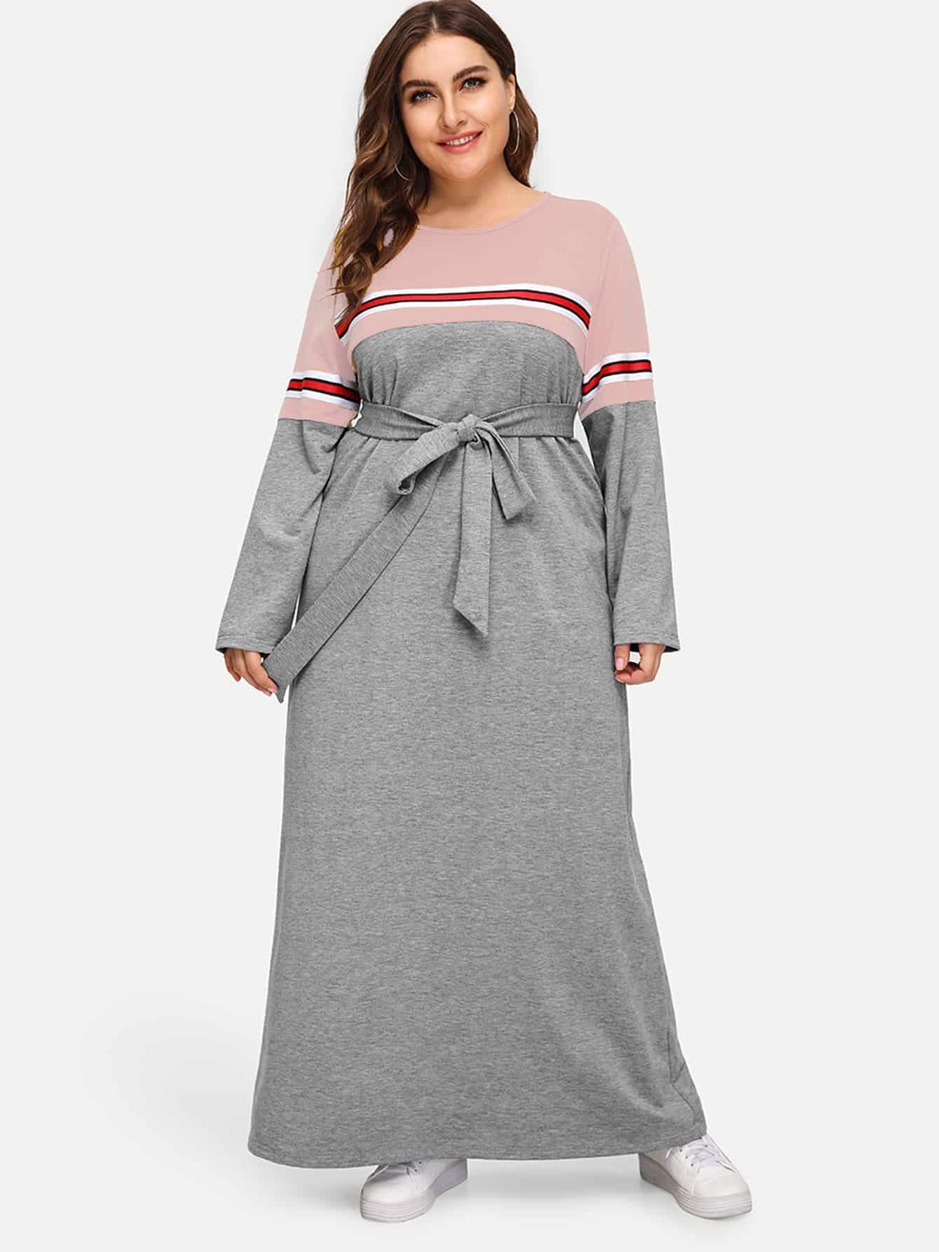 Купить Размер плюс контрастное платье с полосками и поясом, Franziska, SheIn