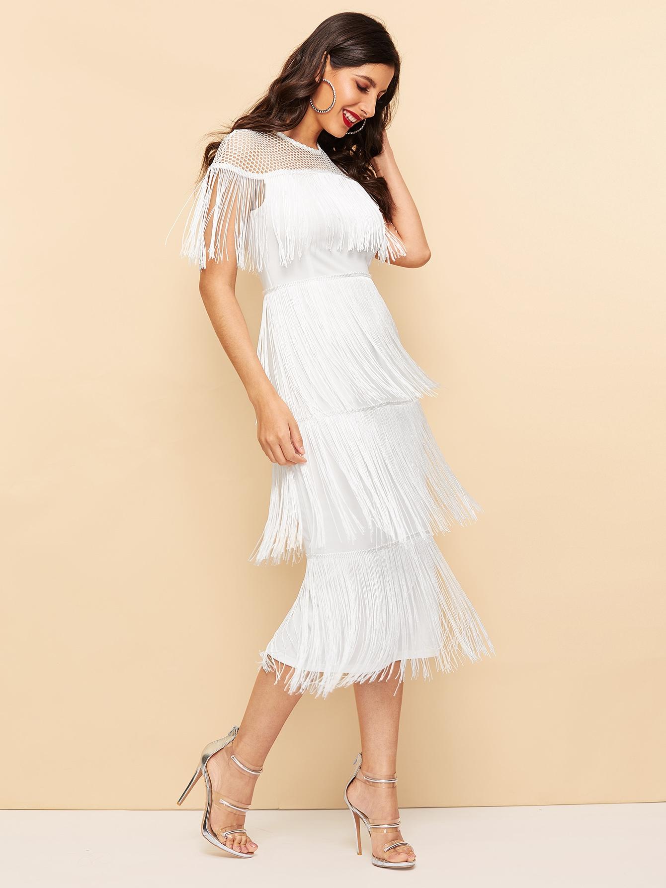 c7b982532ecff Fishnet Yoke Layered Fringe Dress
