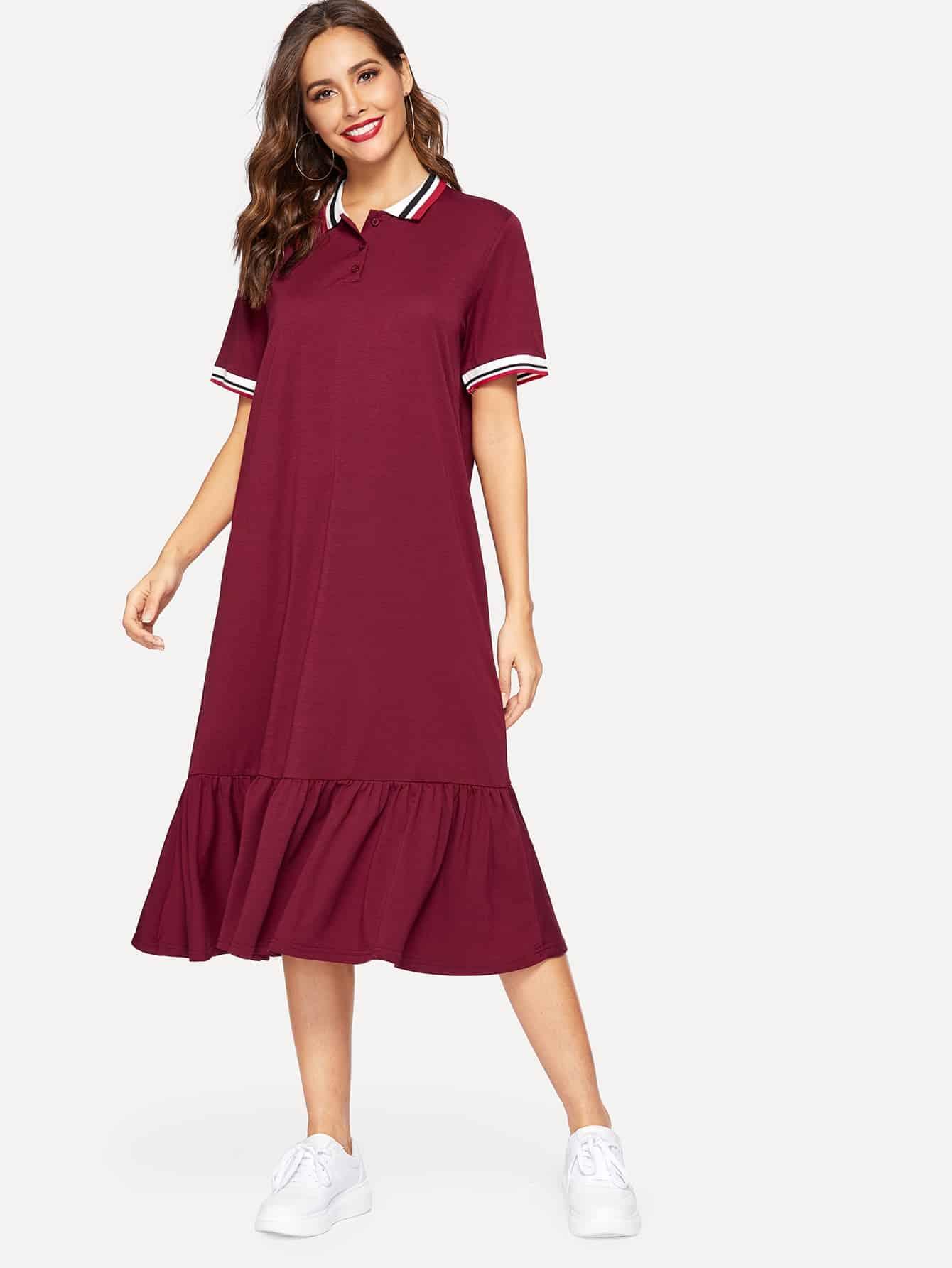 Купить Однобортное платье с оборками и полосатой отделкой, Giulia, SheIn