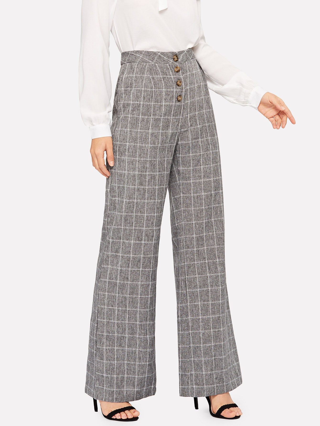 Купить Широкие брюки в клетку с пуговицами, Debi Cruz, SheIn