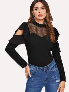 Fishnet Insert Ruffle Cut Out Sleeve Top