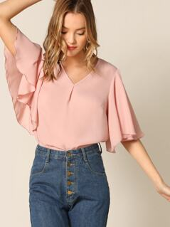 Pleated Front Flutter Sleeve Top
