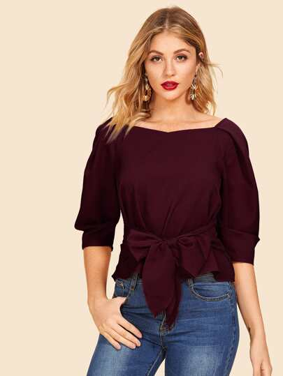SheIn / Pleat Sleeve Self Belted Top