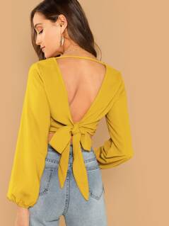 Cutout Knot Back Wrap Crop Top